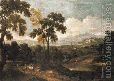 An extensive river landscape with a hunting party by (after) Pandolfo Reschi - Reproduction Oil Painting