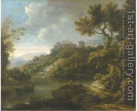 An arcadian landscape with figures resting by a lake, a town on a hilltop beyond by (after) Paolo Anesi - Reproduction Oil Painting