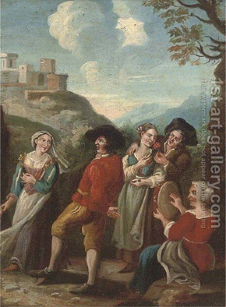Company dancing and courting in a landscape by (after) Paolo Monaldi - Reproduction Oil Painting