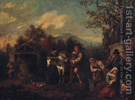Peasants harvesting grapes by (after) Paolo Monaldi - Reproduction Oil Painting