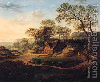 A Wooded Landscape With A Watermill, A Drover With Cattle, A Coastal Hamlet Beyond by (after) Patrick Nasmyth - Reproduction Oil Painting