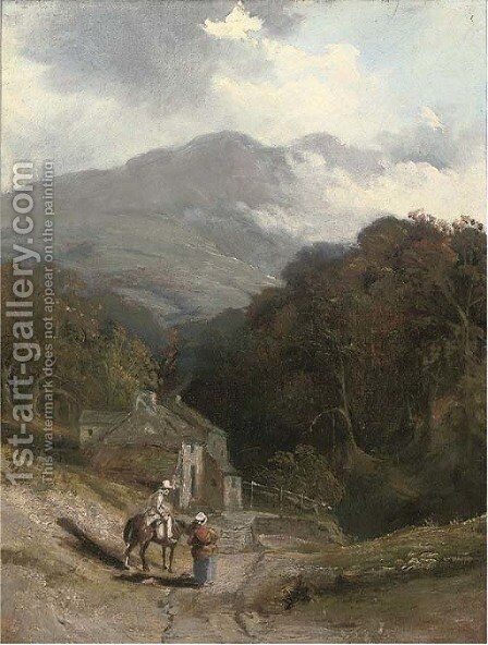 Figures before a cottage on a hillside by (after) Patrick Nasmyth - Reproduction Oil Painting