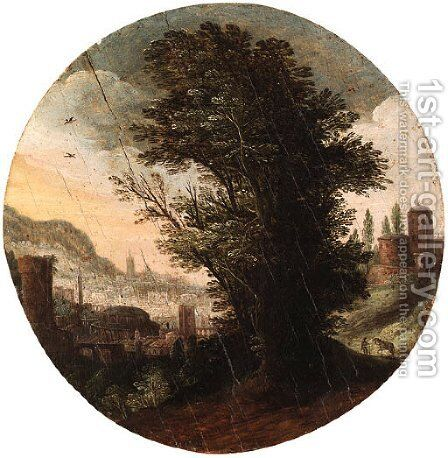 A wooded Landscape with an imaginary Classical City beyond by (after) Paul Bril - Reproduction Oil Painting