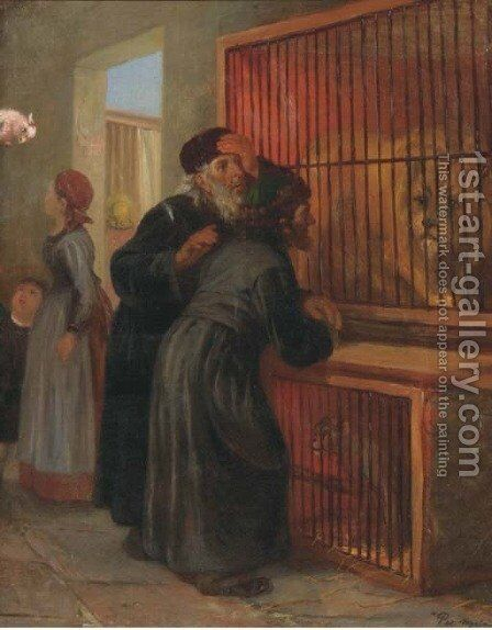 Jewish visitors at the zoo by (after) Paul Friedrich Meyerheim - Reproduction Oil Painting