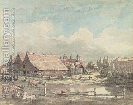 A farmstead by (after) Paul Sandby - Reproduction Oil Painting
