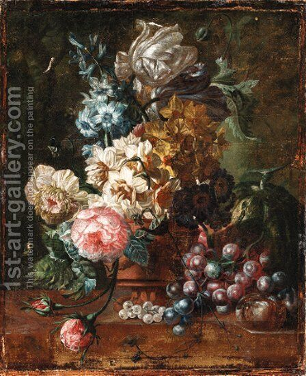Roses, tulips, a hyacinth and other flowers in a terracotta vase with a melon, grapes and plums on a marble ledge by (after) Paul Theodor Van Brussel - Reproduction Oil Painting