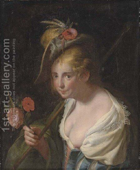A shepherdess, with a bouquet of wheat, poppy and a rose by (after) Paulus Moreelse - Reproduction Oil Painting