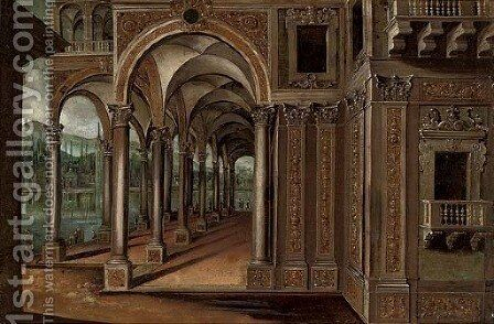 A capriccio of a lakeside palace with elegant company by (after) Paul Vredeman De Vries - Reproduction Oil Painting