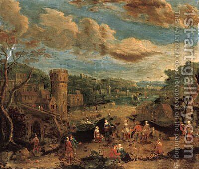 A river landscape with villagers on a track by a ferry; and A river landscape with peasants dancing before a town by (after) Peeter Bout - Reproduction Oil Painting