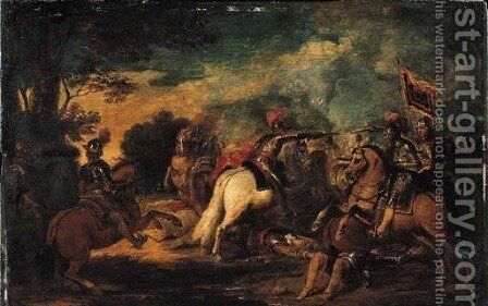A cavalry skirmish- a sketch by (after) Pieter Snayers - Reproduction Oil Painting