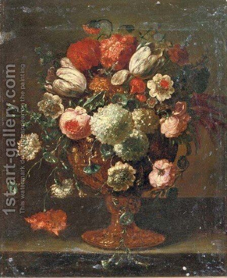 Roses, tulips, violets, hydrangeas and other flowers in an earthenware vase on a stone ledge by (after) Peter Casteels III - Reproduction Oil Painting