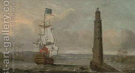 A British man-o'war running past the Eddystone lighthouse by (after) Peter Monamy - Reproduction Oil Painting