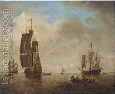 English and Dutch flagships awaiting a breeze by (after) Peter Monamy - Reproduction Oil Painting