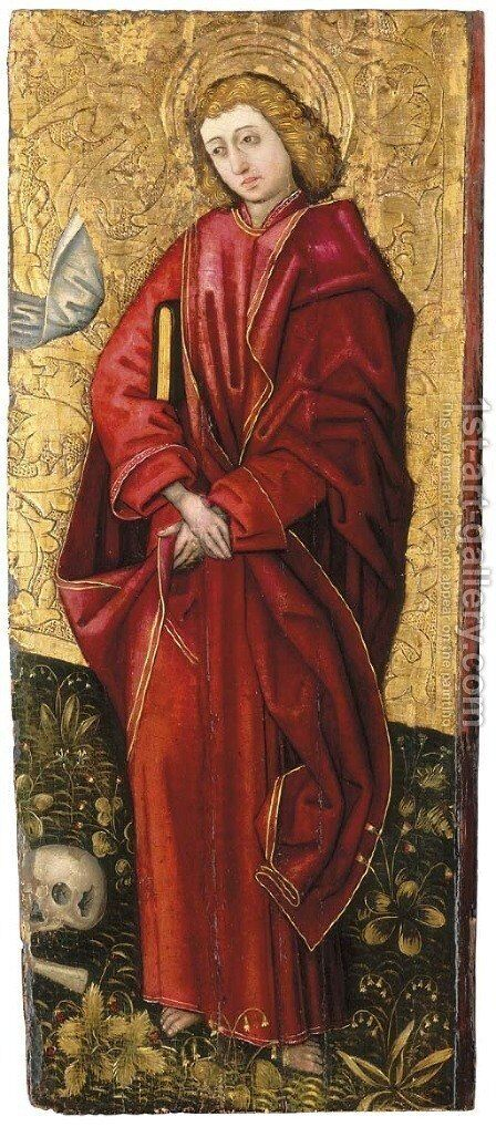 Saint John the Evangelist a fragment from a triptych of the Crucifixion by (after) Peter Murer - Reproduction Oil Painting