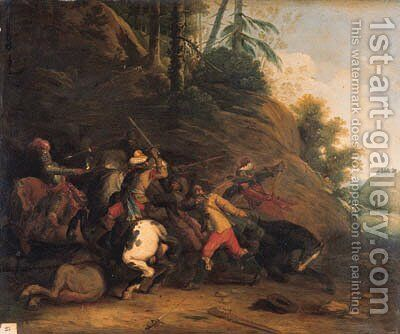 A cavalry skirmish before a wooded hill by (after) Pieter Snayer - Reproduction Oil Painting