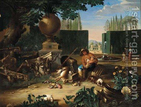 A formal garden with a hunter and his dog resting beside classical ruins, figures and dogs beyond by (after) Pieter Snyers - Reproduction Oil Painting