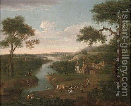 An extensive wooded river landscape with a shepherd, his family and cattle on a track, a village beyond by (after) Peter Tillemans - Reproduction Oil Painting
