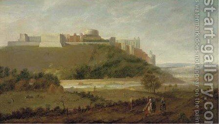 Windsor Castle from the north with the River Thames and labourers in the foreground by (after) Peter Tillemans - Reproduction Oil Painting
