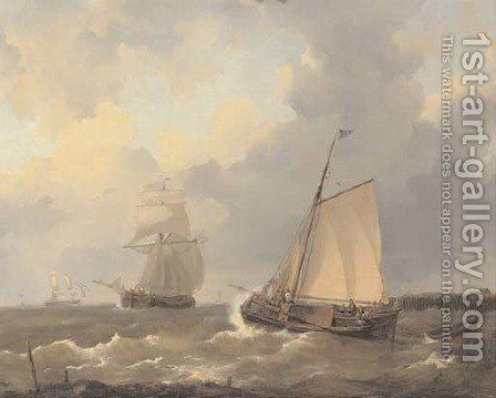 Setting out on choppy water by (after) Petrus Jan Schotel - Reproduction Oil Painting