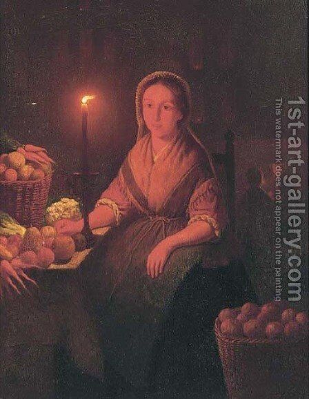 Preparing the vegetables by candle light by (after) Petrus Van Schendel - Reproduction Oil Painting