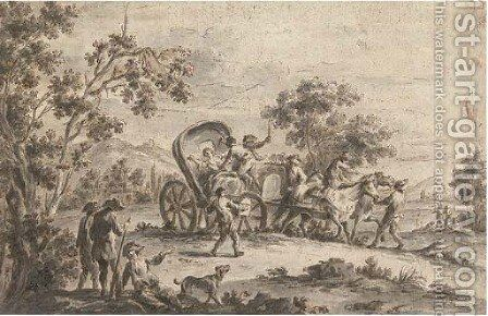 Assault on the highway by (after) Loutherbourg, Philippe de - Reproduction Oil Painting