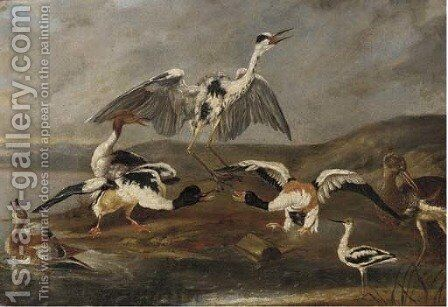 Ducks, a heron and other birds on a bank by (after) Ferdinand Phillip De Hamilton - Reproduction Oil Painting