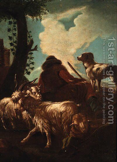 A shepherd resting by a tree by (after) Philipp Peter Roos - Reproduction Oil Painting