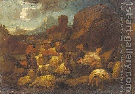 A shepherdess and child resting with her herd in an mountainous Italianate landscape by (after) Philipp Peter Roos - Reproduction Oil Painting