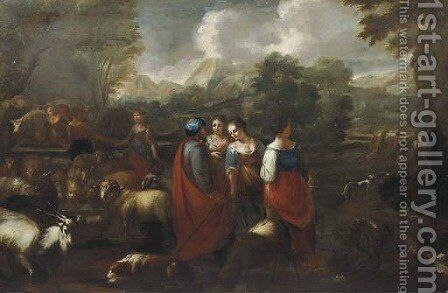 Rebecca and Eliezer at the Well by (after) Philipp Peter Roos - Reproduction Oil Painting