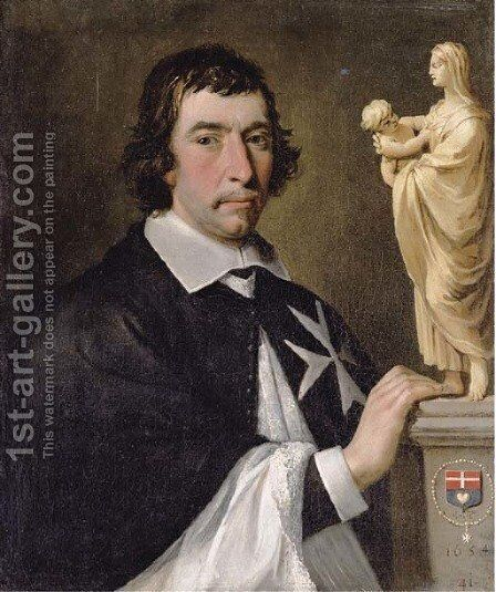 Portrait of a Knight of Malta, presumably Francois Joseph de Robert de Termes, aged 41 by (after) Philippe De Champaigne - Reproduction Oil Painting