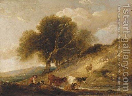 A drover with cattle by a stream in a wooded landscape by (after) Loutherbourg, Philippe de - Reproduction Oil Painting