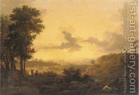 An extensive valley landscape at sunset with figures and cattle by (after) Loutherbourg, Philippe de - Reproduction Oil Painting