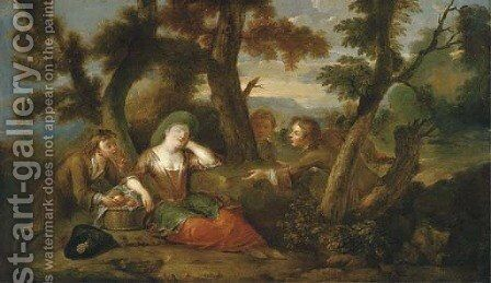 Three boys grabbing apples from a sleeping girl by (after) Mercier, Philippe - Reproduction Oil Painting