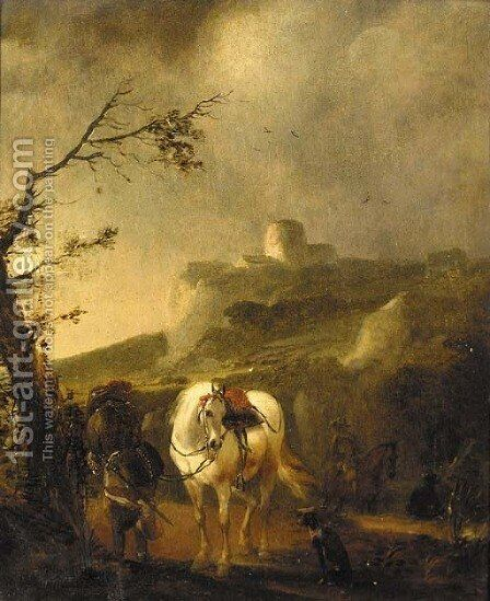 A landscape at dusk with a cavalier beside his mount by (after) Philips Wouwerman - Reproduction Oil Painting