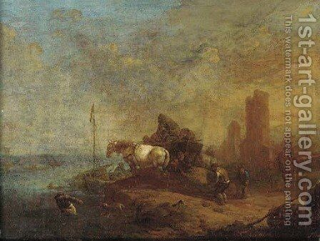 Workers loading a boat near a horse and cart, a town beyond by (after) Philips Wouwerman - Reproduction Oil Painting