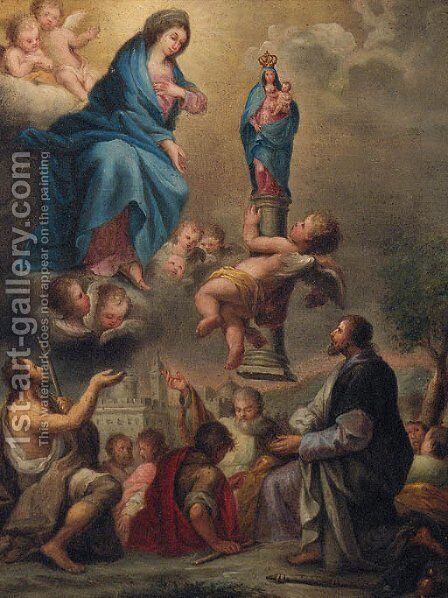 An angel presenting a statue of the Madonna and Child to the Madonna with John the Baptist, Saint Roch and other Saints by (after) Pier Francesco Mola - Reproduction Oil Painting