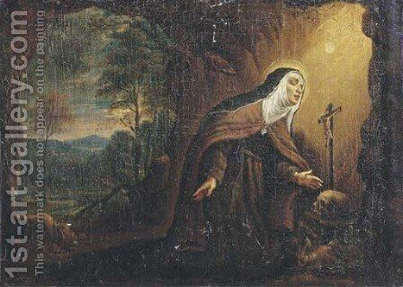 The Penitent Saint Theresa in a grotto by (after) Pier Francesco Mola - Reproduction Oil Painting