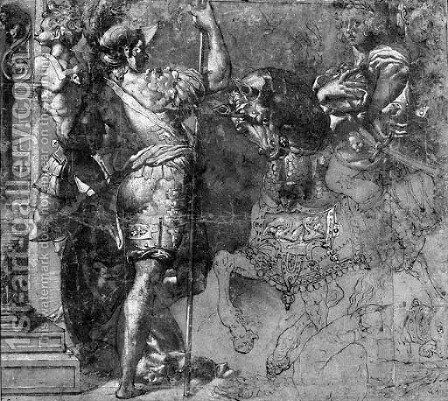 A Warrior On A Horseback And Two Standing Soldiers by (after) Perino Del Vaga (Pietro Bonaccors) - Reproduction Oil Painting