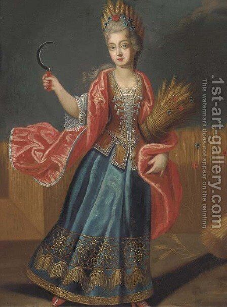 Portrait of a lady, full-length, as Ceres by (after) Pierre Gobert - Reproduction Oil Painting