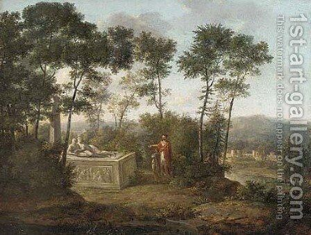 A classical landscape with figures by a tomb by (after) Pierre-Henri De Valenciennes - Reproduction Oil Painting