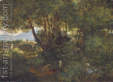 A woodland path before an Italianate town by (after) Pierre-Henri De Valenciennes - Reproduction Oil Painting