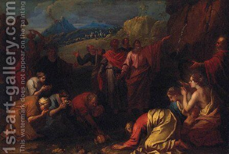 Moses striking the Rock by (after) Pierre-Jacques Cazes - Reproduction Oil Painting