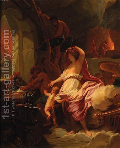 Venus at the Forge of Vulcan by (after) Pierre-Jacques Cazes - Reproduction Oil Painting