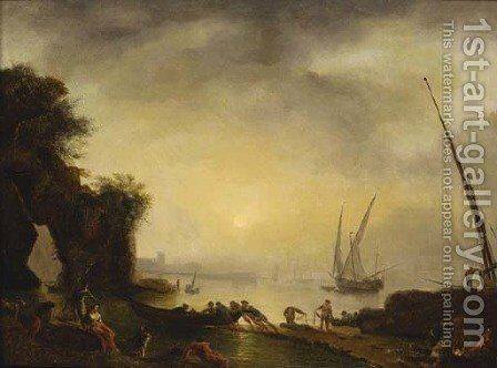 A Mediterranean coastline with fisherfolk on the shore at sunset by (after) Pierre Joseph Walleart - Reproduction Oil Painting