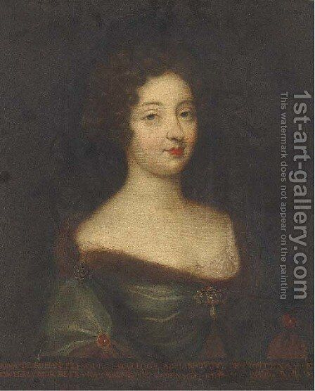 Portrait of Anna de Rohan, bust-length, in a jewelled dress by (after) Mignard, Pierre II - Reproduction Oil Painting