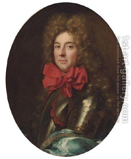 Portrait of a gentleman, bust-length, in armour and a red neckerchief, traditionally identified as the Duc de Ventadour by (after) Mignard, Pierre II - Reproduction Oil Painting