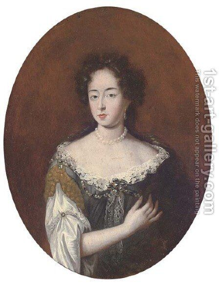 Portrait of a lady, half-length, wearing pearls by (after) Mignard, Pierre II - Reproduction Oil Painting
