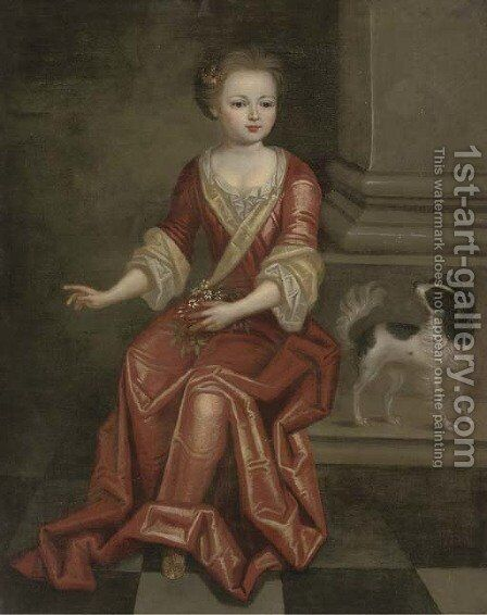 Portrait of a young girl, seated full-length, in a red dress, by a column, holding a sprig of jasmine in her left hand, a spaniel at her side by (after) Mignard, Pierre II - Reproduction Oil Painting
