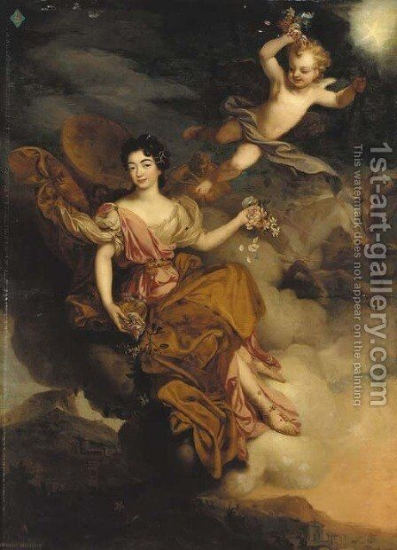 Portrait of Mademoiselle de la Force as Flora, full-length, with putti in a landscape by (after) Mignard, Pierre II - Reproduction Oil Painting