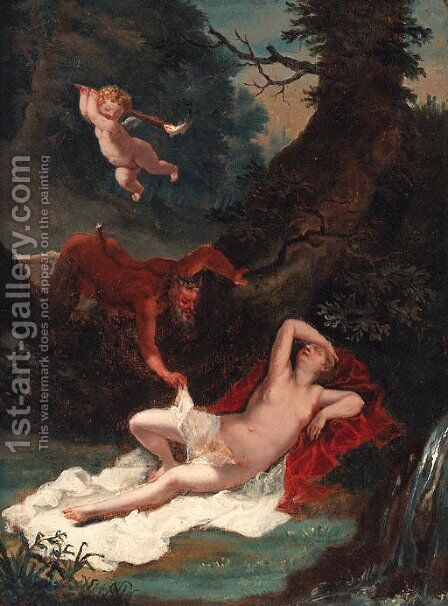 A Satyr spying on the sleeping Venus by (after) Pierre-Paul Prud'hon - Reproduction Oil Painting